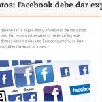 OCU da a Facebook, quince dias,  para aclarar si la cesión de datos afecta a España