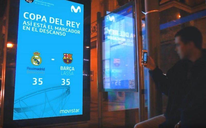 Movistar ,JCDecaux , calles Madrid, copa del rey, baloncesto, programapublicidad, muy grande
