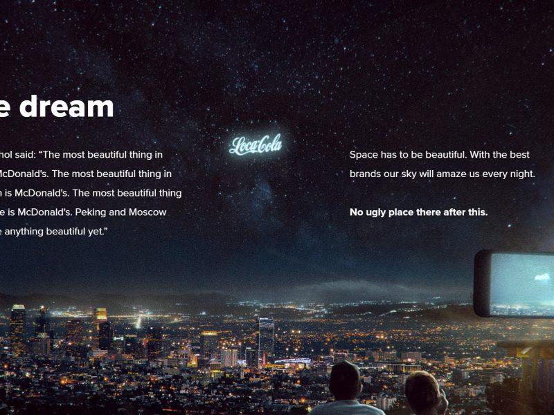 Pepsi , anuncio gigante , espacio, StartRocket , Coca-Cola, programapublicidad,