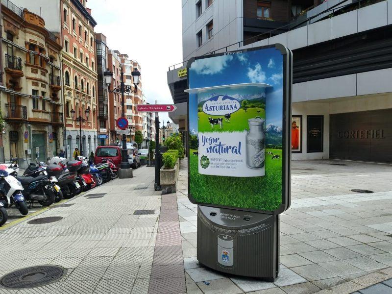 yogures , Central Lechera Asturiana, grande , mupis , JCDecaux , Oviedo , Gijón, programapublicidad,