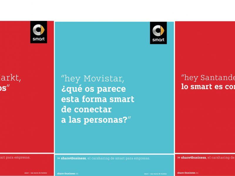 Publicis Emil, la agencia de Publicis Groupe que trabaja en exclusiva para Mercedes-Benz y smart, ha realizado la campaña de lanzamiento de Share4Business.Smart reta a otras marcas en campaña con Publicis Emil