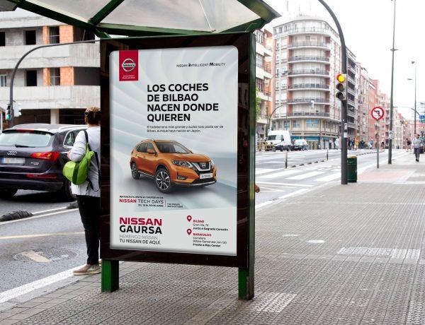 Tu Nissan de aquí, campaña , marquesina, Grupo INRED , Nissan, en Bilbao, programapublicidad,