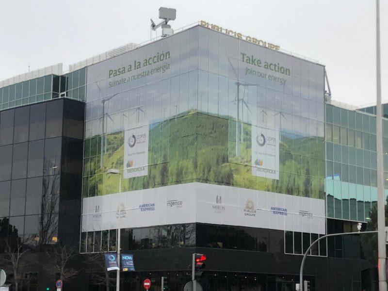 edificio, verde, Publicis, ifema, lona, iberdrola, programapublicidad