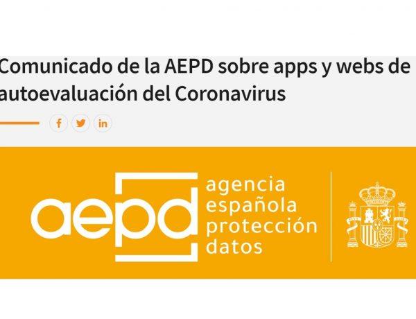 aepd, apps, webs, autoevaluacion , coronavirus, programapublicidad