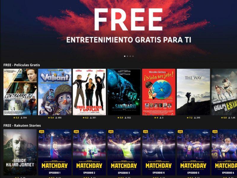 free, rakuten, tv, entretenimiento, cine, programapublicidad