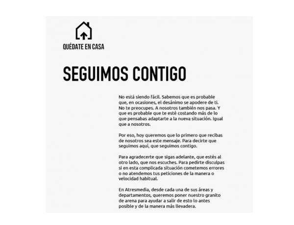 #quedateencasa, atresmedia, seguimos contigo, programapublicidad