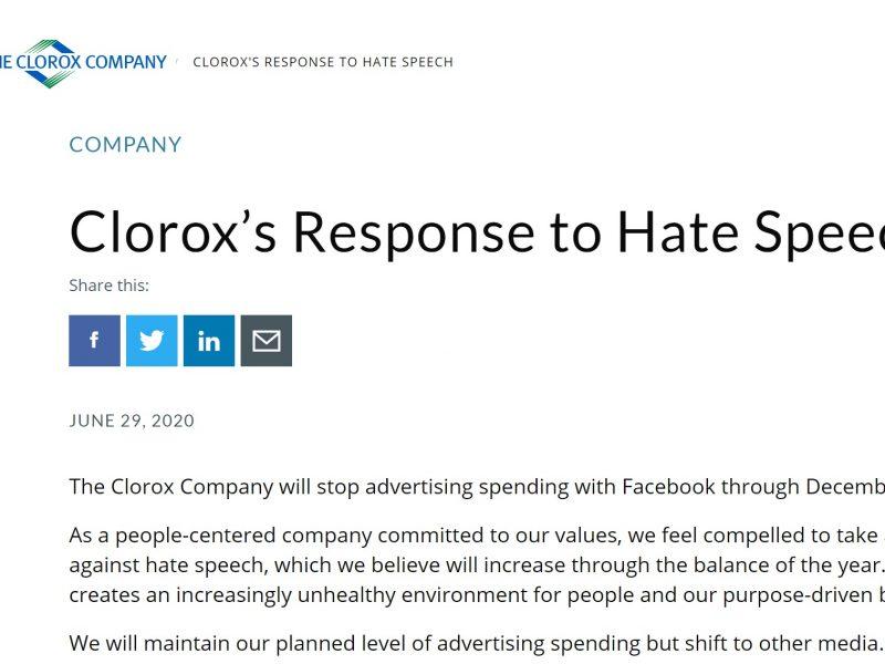 clorox, marcas, retiran, coca-cola, racismo, odio, no hay lugar, Mark Zuckerberg, facebook, programapublicidad