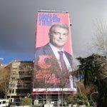 AVANTE lanza campaña de la candidatura de Joan Laporta a presidencia del Barça con lona de 1.000 metros2