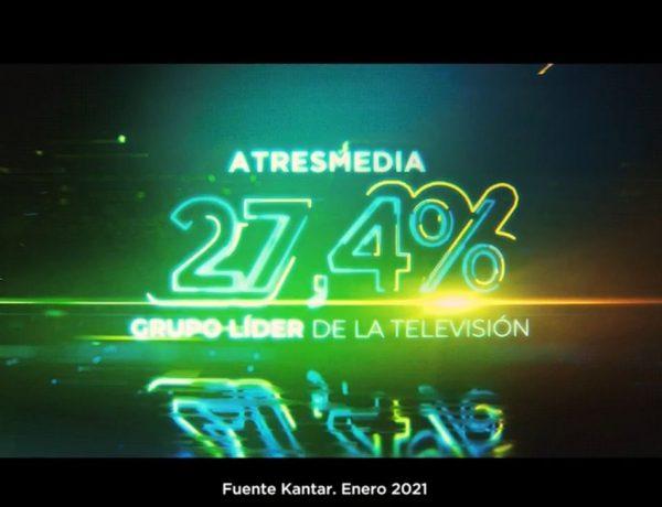 atresmedia, lider ,enero, 2021, Kantar, 27,4%, programapublicidad
