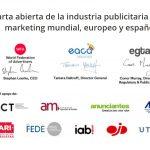Carta abierta de la industria publicitaria y marketing mundial, europeo y español a los gobiernos