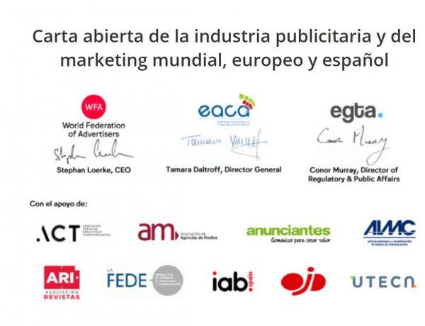 carta abierta, anunciantes, asociaciones, marketing,ARI, AEA, ACT, FEDE ,uteca, ojd, am, eaca, egta, aimc, iab, programapublicidad