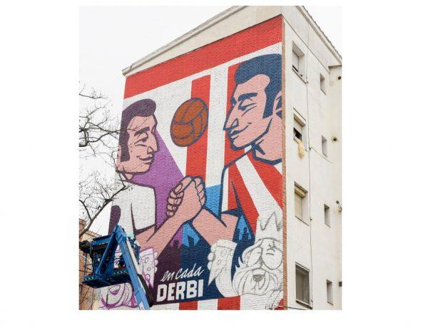 El Derbi de Madrid, mural, exterior, programapublicidad