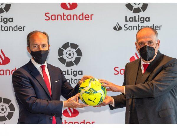 Javier Tebas, presidente , LaLiga, , Rami Aboukhair,LaLiga , Banco Santander ,renovado , acuerdo , dos años , temporada 2023-2024 ,programapublicidad