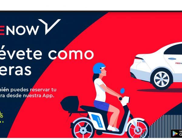 FREE NOW , campaña 360 , exterior , September , integración ,Cooltra , app, programapublicidad