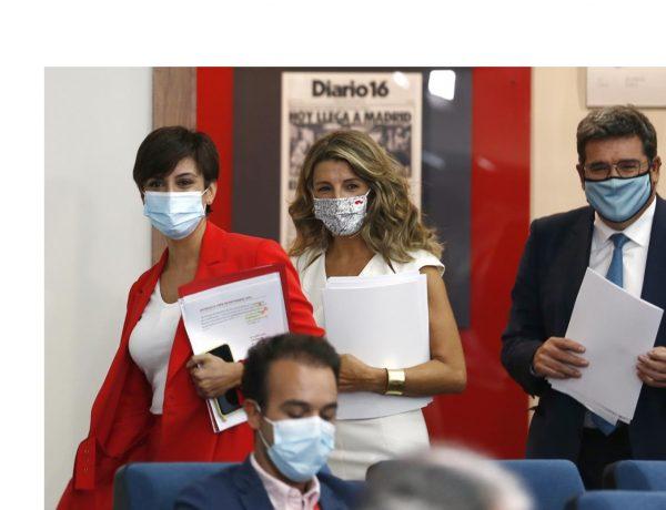 Isabel Rodríguez, Yolanda Díaz,ministro de Inclusión, Seguridad Social y Migraciones, José Luis Escrivá, programapublicidad